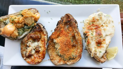Oysters served four different ways at Restaurant des Familles in Crown Point, LA